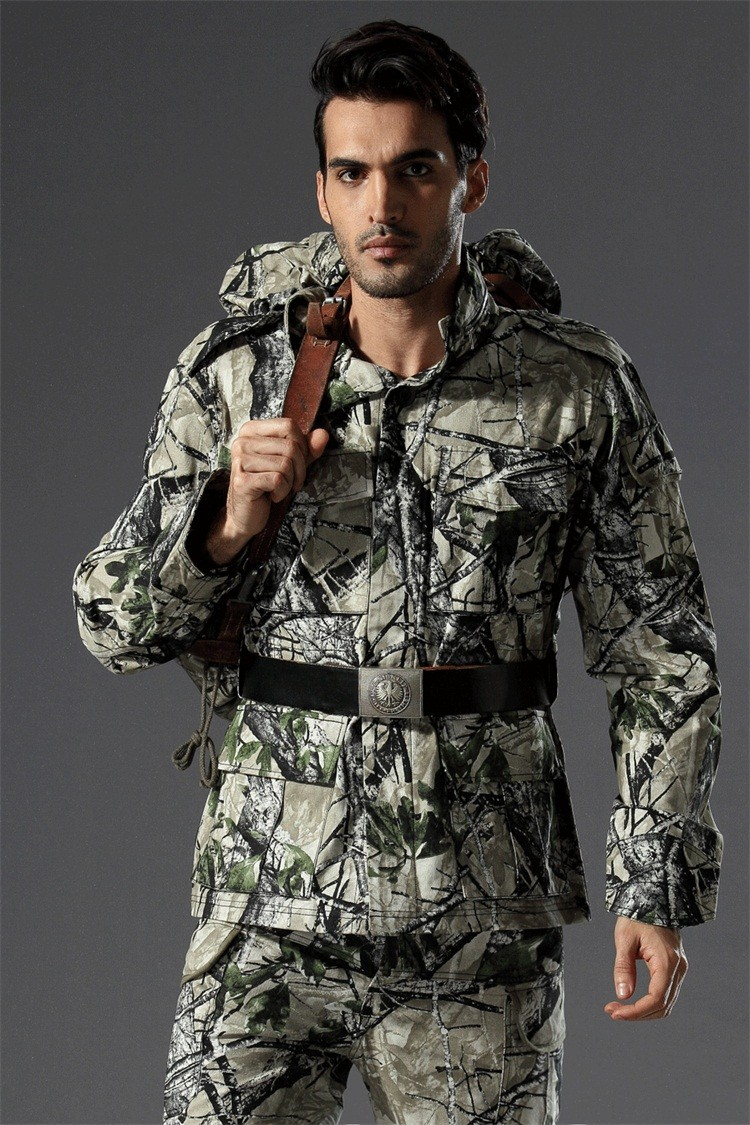 Meadow Terrain Camo Hunting Jacket Bionic Tactical Camouflage Hunting Jackets Outdoor Hunting Outwear