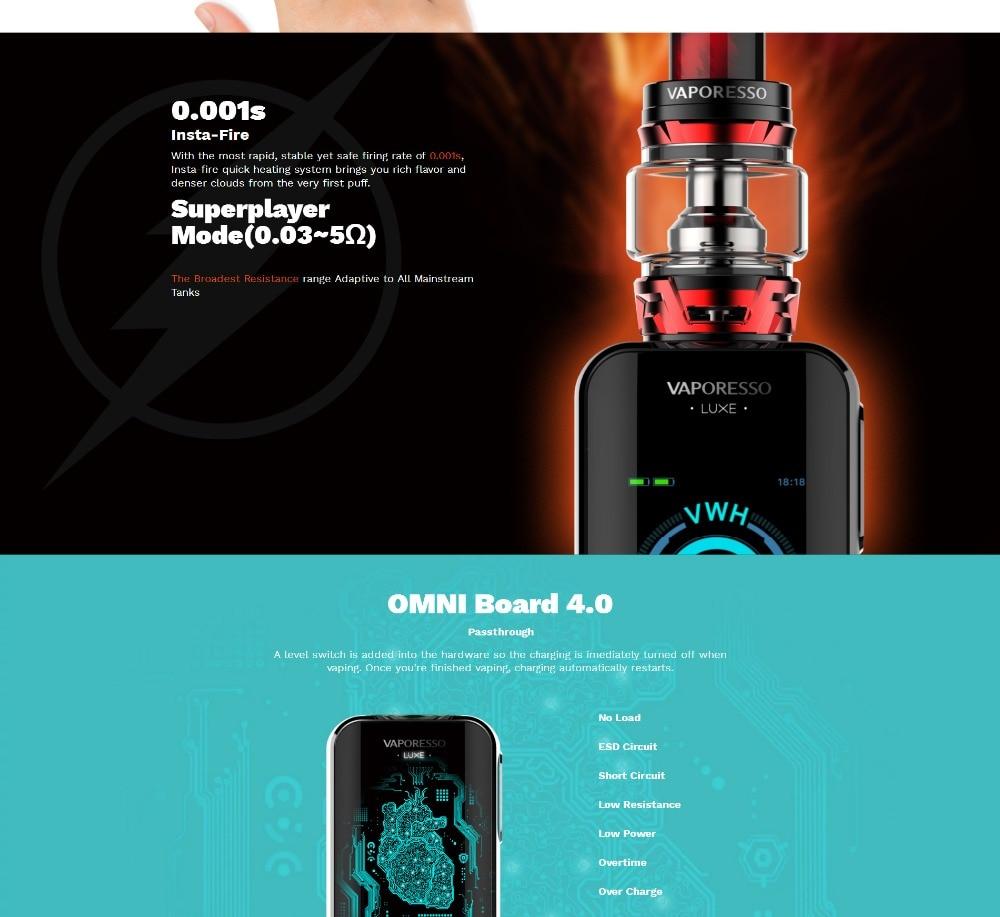New Arrival Original 220W Vaporesso LUXE Vape kit with SKRR Tank 8ml2ml Atomizer QF Meshed Coil E-Cigarettes Kit VS Revenger (3)