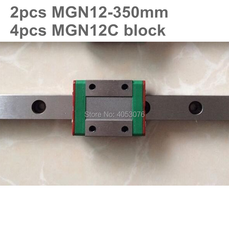Linear guide MGN12 miniature linear rail slide 2pcs MGN12- 350mm linear rail guide +4pcs MGN12C carriage for cnc partsLinear guide MGN12 miniature linear rail slide 2pcs MGN12- 350mm linear rail guide +4pcs MGN12C carriage for cnc parts