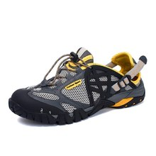 Брендовые мужские летние сетчатые сандалии; большие размеры 35 47; Мужская и женская дышащая повседневная обувь в стиле унисекс; пляжные водонепроницаемые сандалии