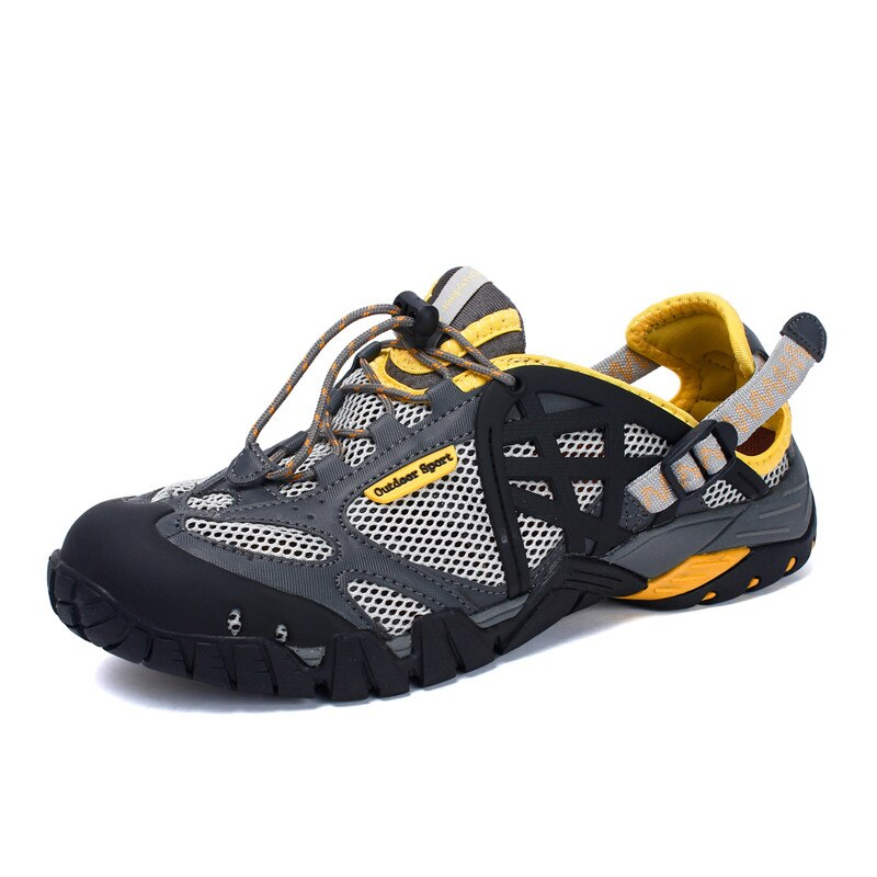 Brand Men Summer Mesh Sandals Plus Size 35 47 Unisex Style Male Female Breathable Casual Shoes Beach Water Sandals-in Men's Sandals from Shoes