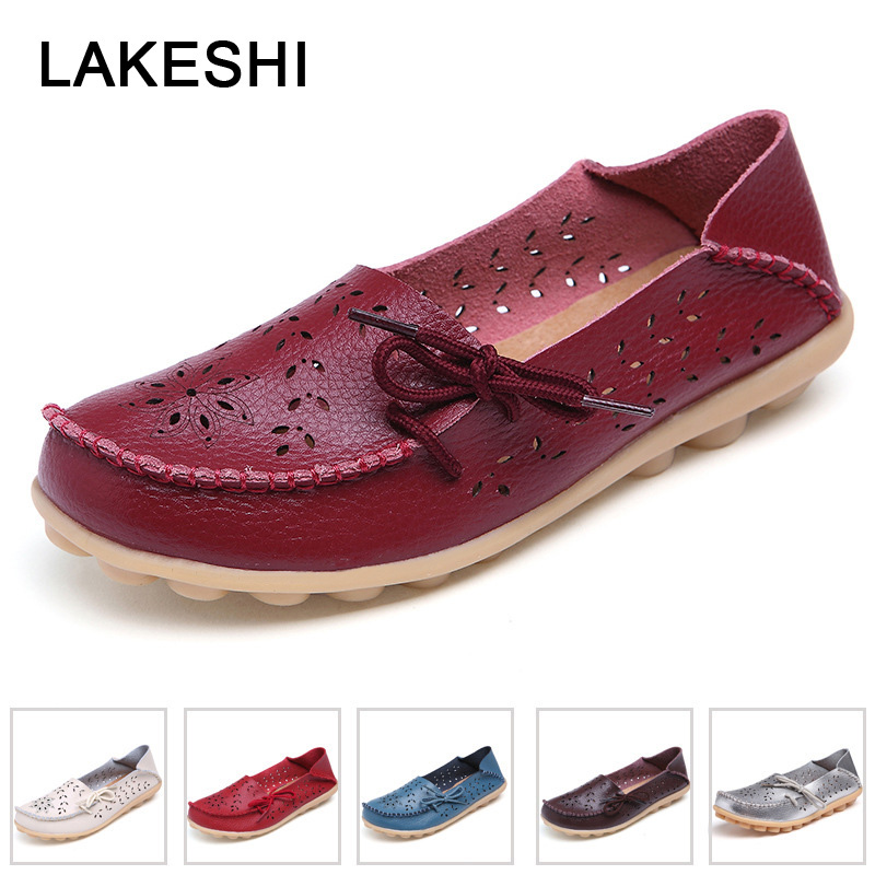 PU Leather Flats Shoes Female Loafers Women Casual Shoes Hollow Out Soft Bottom Mother Shoes Plus SizePU Leather Flats Shoes Female Loafers Women Casual Shoes Hollow Out Soft Bottom Mother Shoes Plus Size