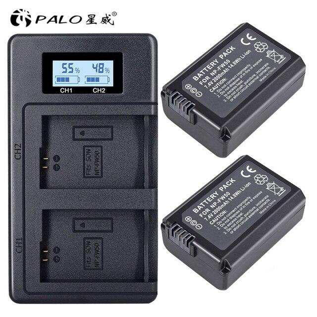 PALO 2 pcs 2000 mAh NP FW50 NP FW50 แบตเตอรี่กล้อง + LCD USB Dual Charger สำหรับ Sony Alpha a6500 a6300 a6000 a5000 a3000 NEX 3 a7R