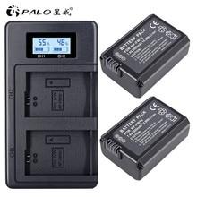 PALO 2 pièces 2000 mAh NP FW50 NP FW50 batterie de caméra + LCD USB double chargeur pour Sony Alpha a6500 a6300 a6000 a5000 a3000 NEX 3 a7R