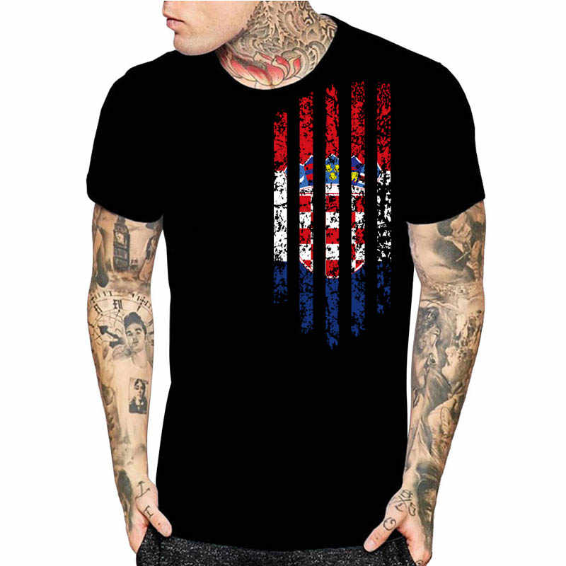 Croatia Vintage Flag 3D Print Mens Black Short Sleeve T-Shirt Fashion  Graphics Tops Christmas fdcb81ac5