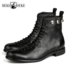 England Style Mens Genuine Leather Cow Low Heel Matin Boots Winter Retro Motorcycle Male Ankle Shoes Lacets Chaussures