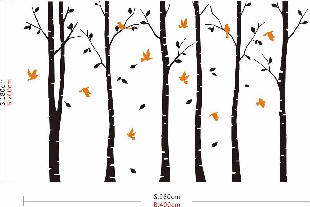 SIA 2017 nouveau grand vinyle noir café brun blanc 4 couleurs bouleau arbre stickers oiseaux vinyle Sticker mural décor à la maison - 5