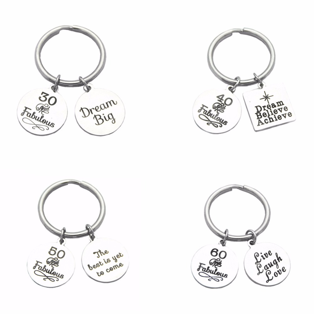 Stainless Steel 40th Birthday Gift Key Ring Inspiration Dream Believe Achieve Charms Keychain For Mom Dad Step Father In Chains From Jewelry