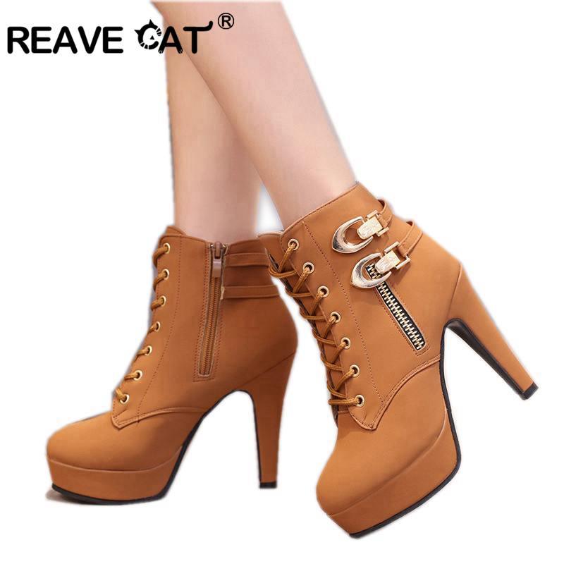 Las Hebilla Cuero Reave Gato brown Black Y Mujeres Zapatos De Doble Otoño A245 Mujer Botas Plataforma Moda Primavera Alto Tacón qwg6PwX