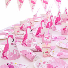 Flamingo Party Decor Birthday Tableware Set Cartoon Pink FlamingoPlates/Cups/Paper/Box Valentines Day Supplies