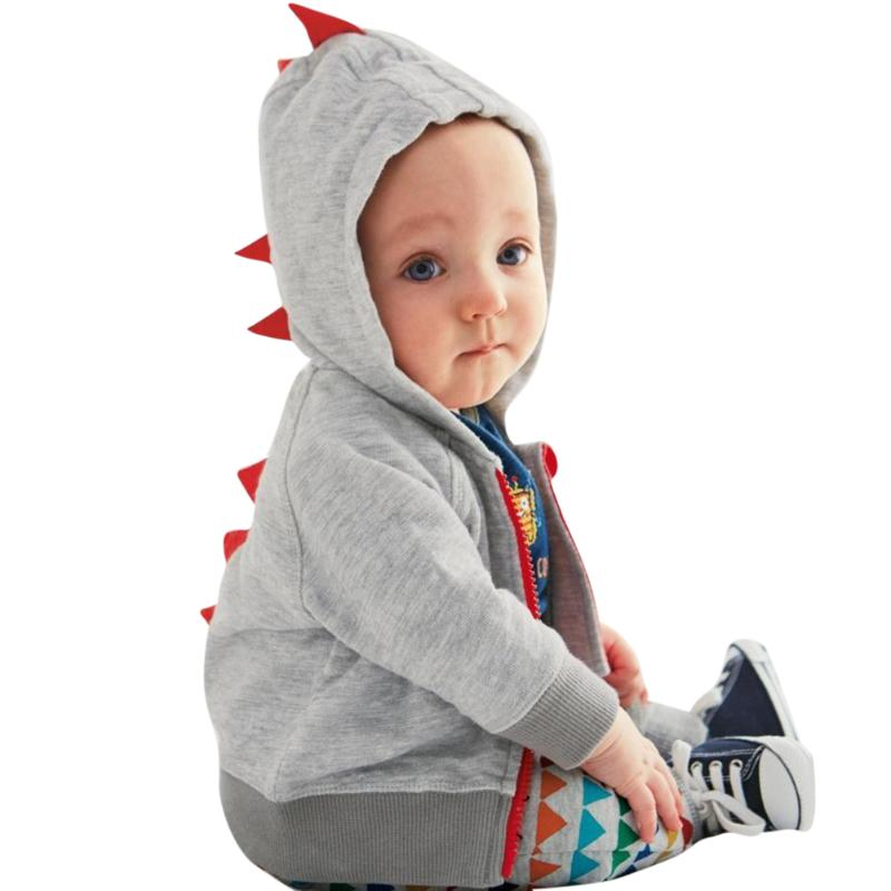 2017 New Spring Autumn Baby Clothes Baby Boys Jackets Hooded Sweater Dinosaur Shape Zipper Sweatshirt Coat Outerwear