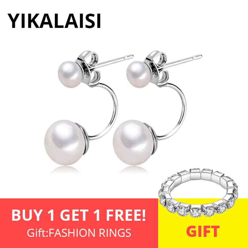 YIKALAISI 925 Pendientes de perlas dobles de plata esterlina natural para las mujeres 6-7-8mm Perla de doble uso Way 4 color