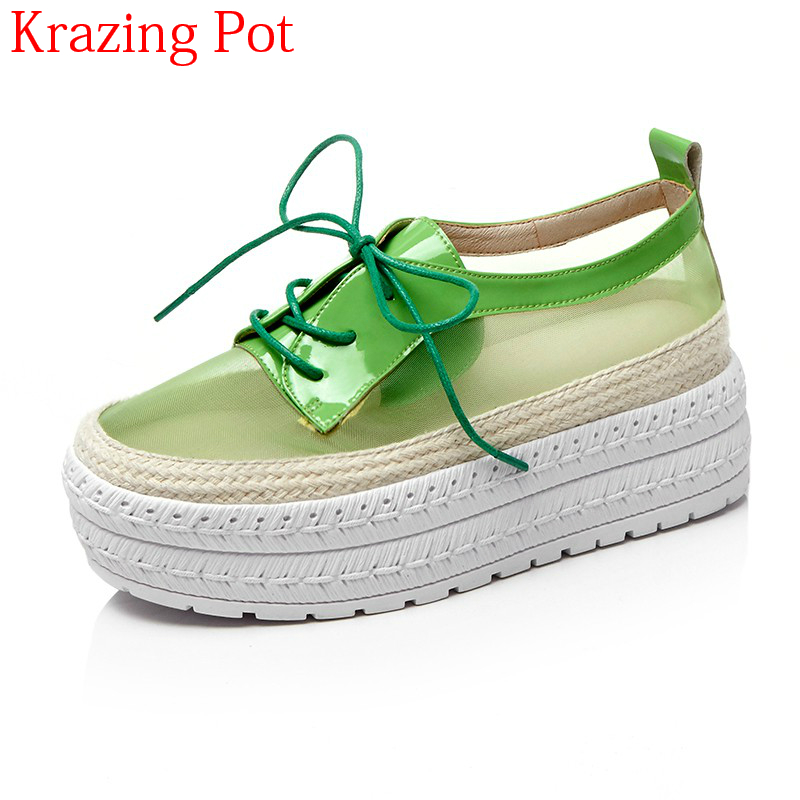 2018 Thick Bottom Genuine Leather Air Mesh Increased Platform Loafers Breathable Sneaker Casual Shoes Women Vulcanized Shoes L79 люстра osgona guarda 692082