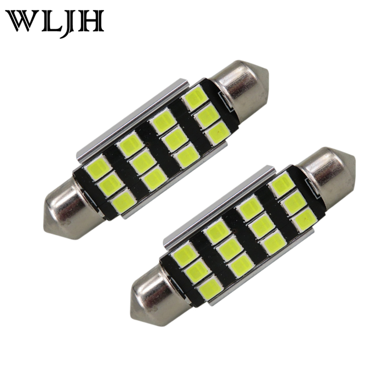 WLJH 10x CANBUS Festoon C5W <font><b>Led</b></font> 42mm 41mm Samsung Chip 2835 SMD <font><b>SV8</b></font>,5 264 License Plate Interior Light Car <font><b>Led</b></font> Light Bulb Lamp
