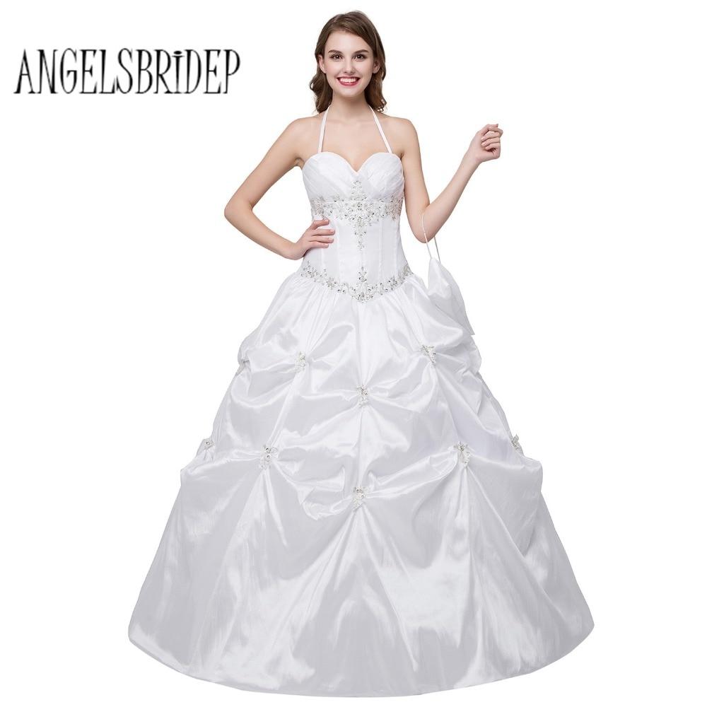 Lace Halter Wedding Gown: Aliexpress.com : Buy ANGELSBRIDEP White Halter Taffeta