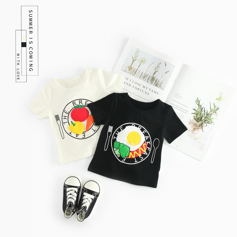 Hot Sale White Cotton T Shirt Kids Brand Design Fruit Print T shirts Fashion Baby Boy Short Sleeve O neck Top Clothing