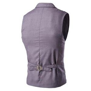 Image 4 - ขายร้อน Mens เสื้อและเสื้อกั๊ก Slim Masculino ฝ้ายคู่เสื้อแขนกุด Waistcoat ชุดสูทเสื้อสูทชายเสื้อกั๊ก