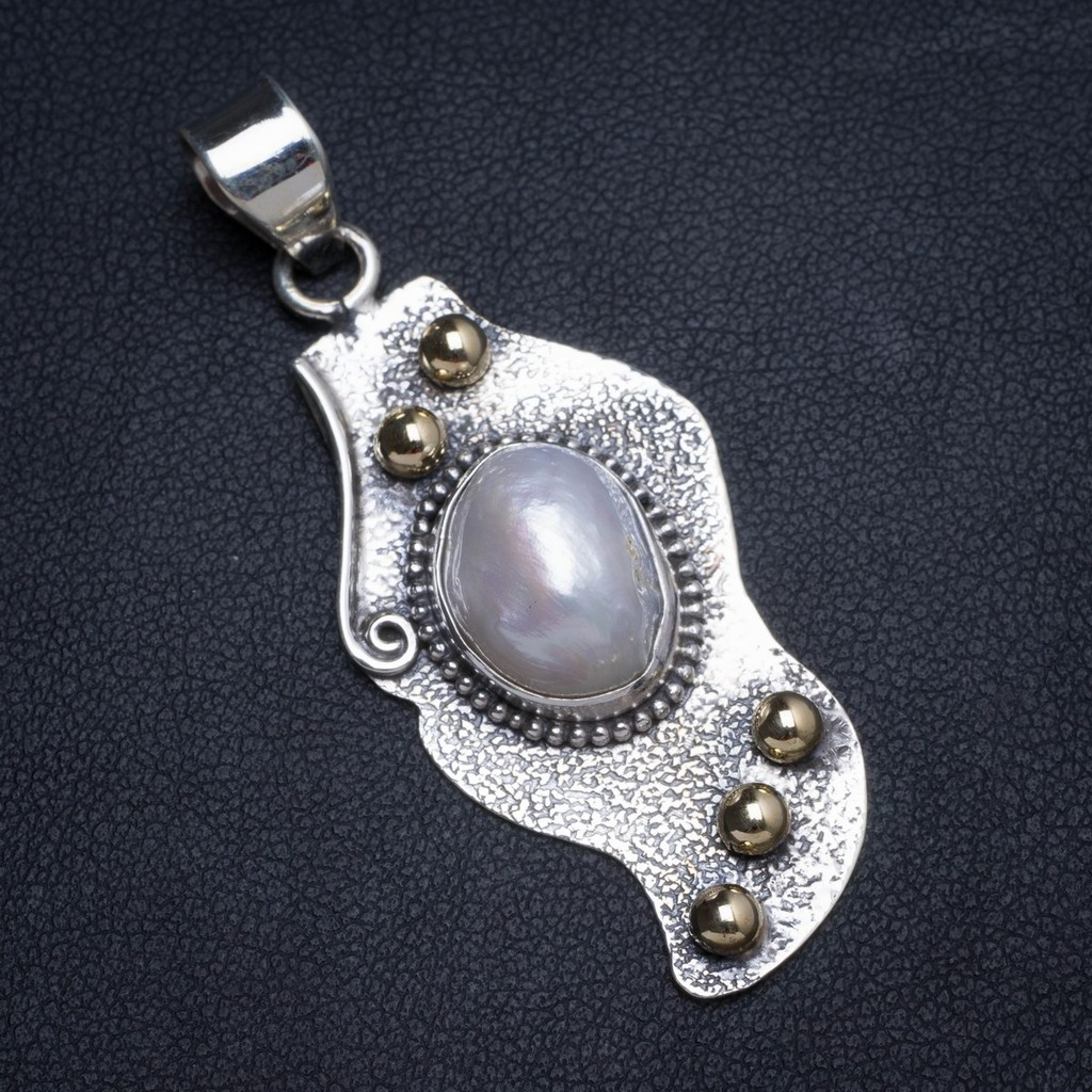Natural Two Tones Biwa Pearl Handmade Unique 925 Sterling Silver Pendant 2 X0014Natural Two Tones Biwa Pearl Handmade Unique 925 Sterling Silver Pendant 2 X0014