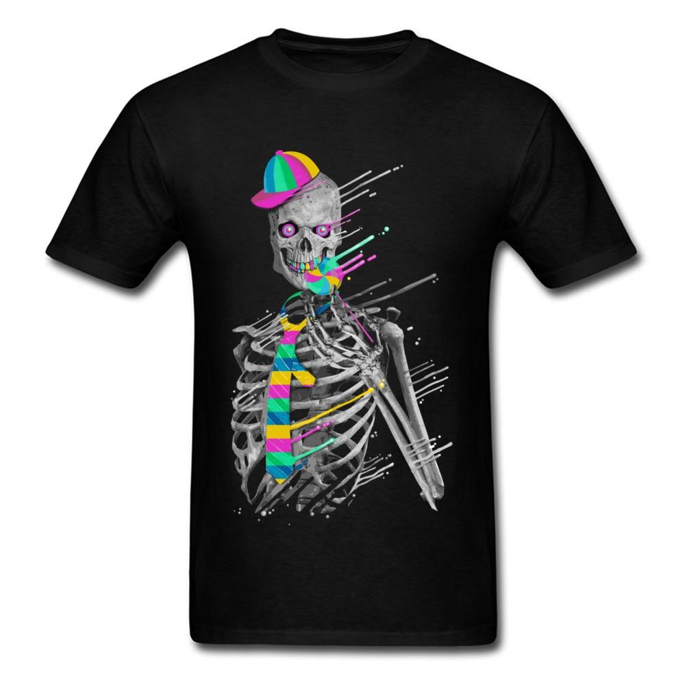 Hip Hop Geek Tshirt For Men 2018 Latest Design Melting Candy Skeleton Skull 3D Black Print T Shirt Psychedelic Skull Band Tops