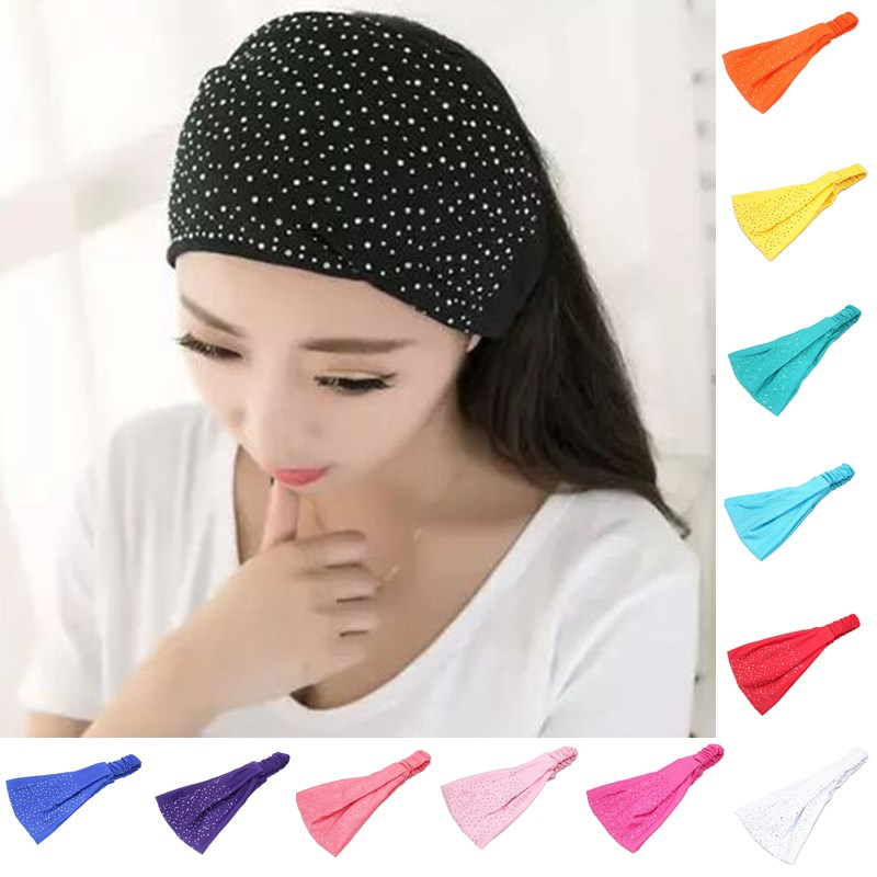 Fashion Women Rhinestone Hair Band Girls Elasticity ead Wrap Soft Headwear Turban Twist Headband ...
