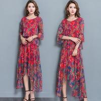 2018 Free Shipping Spring Summer Dress Silk Waisted Slim Irregular Printing O neck Long Dresses Women Clothing