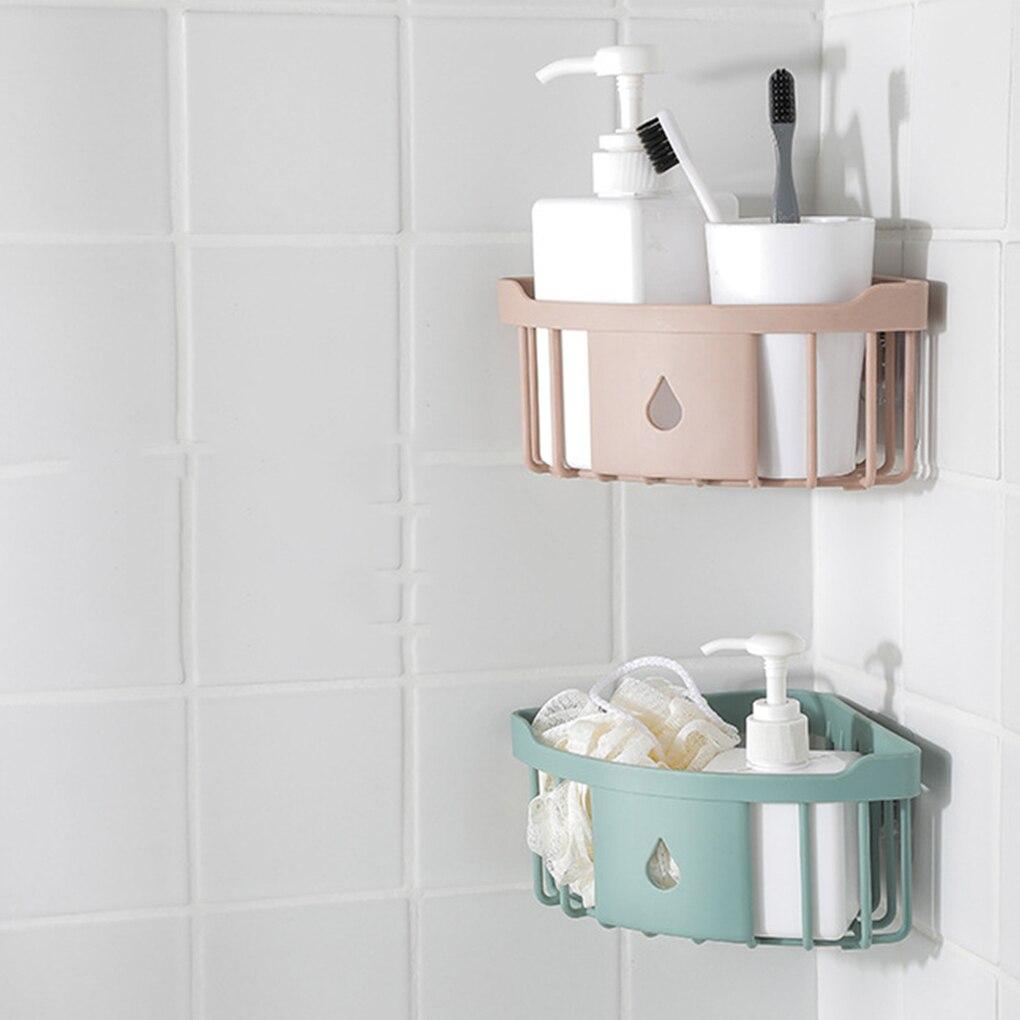 Bathroom Kitchen Adhesive Wall Mount Soap Shampoo Lotion Storage Case Mesh Design Rack Holder