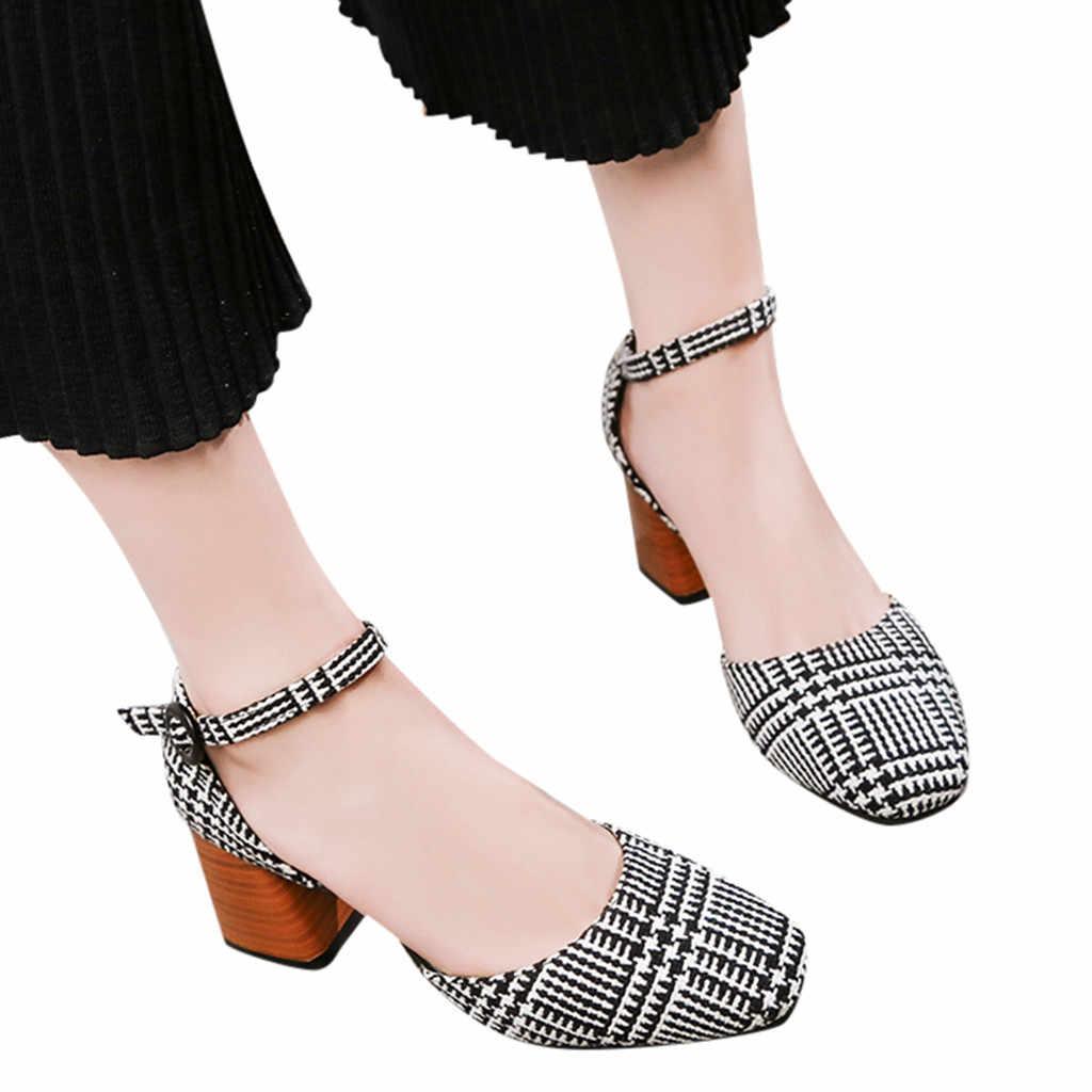 YOUYEDIAN las mujeres cinturón de hebilla salvaje único zapatos de boca  baja zapatos de tacón alto 2d1fb54df15b