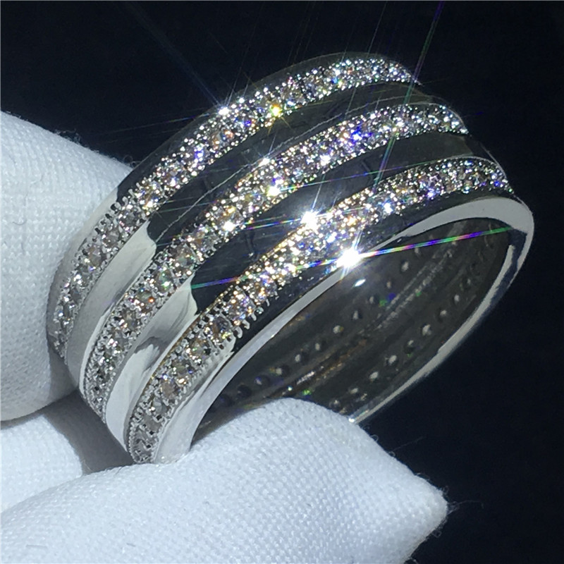 Fashion Lady ring 3 Rows AAAAA Cz Stone White Gold Filled Engagement wedding band ring for women Bridal Finger Jewelry