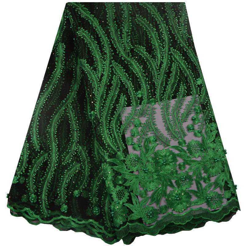 Green African Lace Fabrics Fashion Embroidery Beads Net Lace Fabric With Stones Hot Sale French Tulle