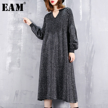 [EAM] 2019 New Spring Winter V-collar Long Lantern Sleeve Back Lurex Striped Stitch Loose Brief Dress Women Fashion Tide JI625
