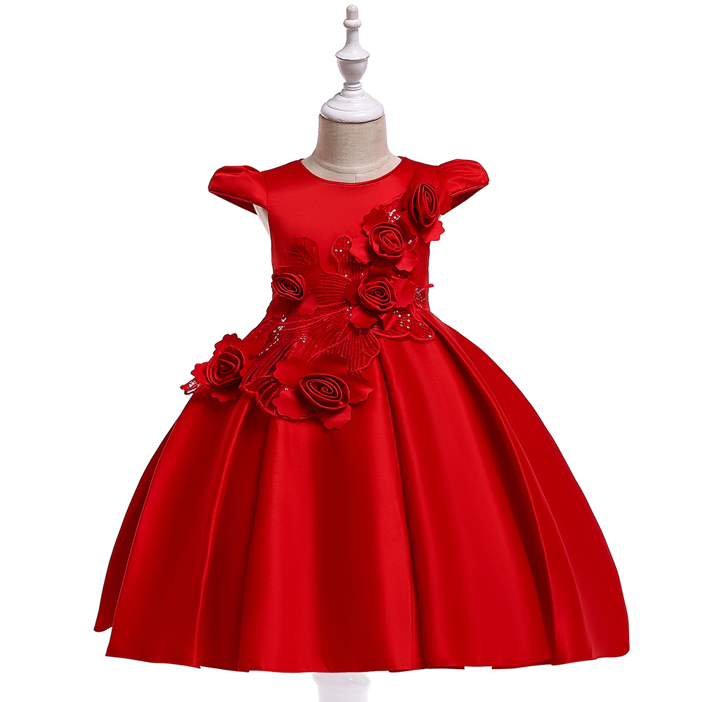 2019 Elegant Satin Flower Girl Dresses With Lace Tulle Floral Small Flying Sleeve Design Long Princess Gowns For Prom And Party2019 Elegant Satin Flower Girl Dresses With Lace Tulle Floral Small Flying Sleeve Design Long Princess Gowns For Prom And Party
