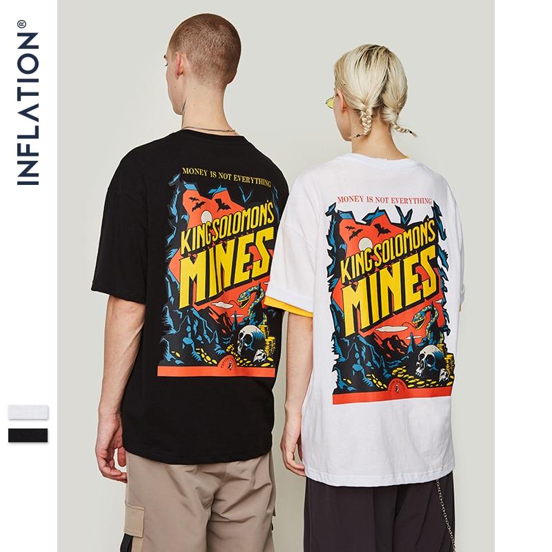 INFLATION drôle impression hommes t-shirts col rond t-shirt coton mode haute rue Couple t-shirts Streetwear 2019 Top t-shirt 9191 S