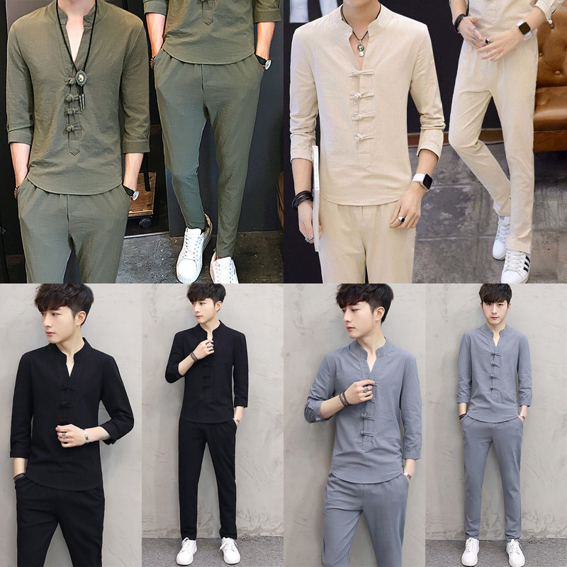New Two-piece Summer Chinese Style Suit Men's Cotton T-shirt Suit Embroidery Casual Men's Suit