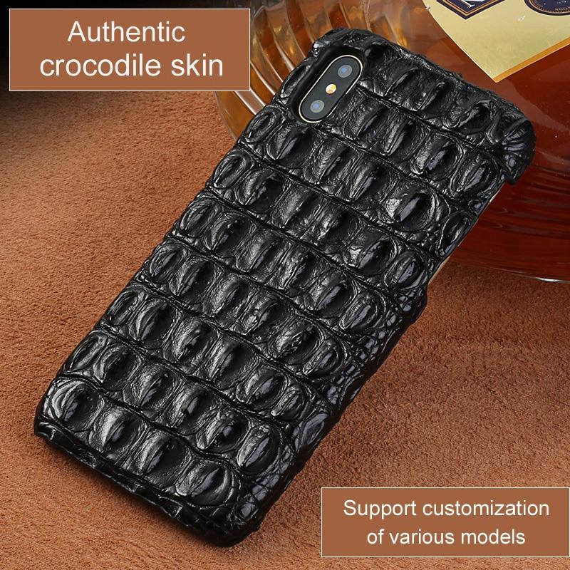 Galleria fotografica LANGSIDI Luxury Real Genuine crocodile leather case for iphone XR XS MAX Original phone cover For iphone 11 pro max 7 8 plus 5s