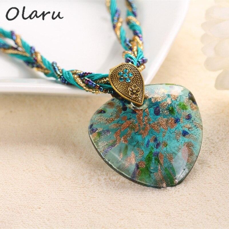 Olaru Vintage Bohemia Beads Heart Natural Stone Pendant Necks