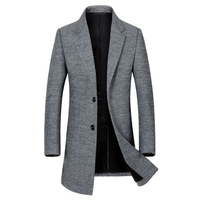 New Fashion Long Woolen Coat Men Single Breasted Trench Coat Men For Overcoat Winter Business Casual Slim Fit Wool Pea Coats 3XL