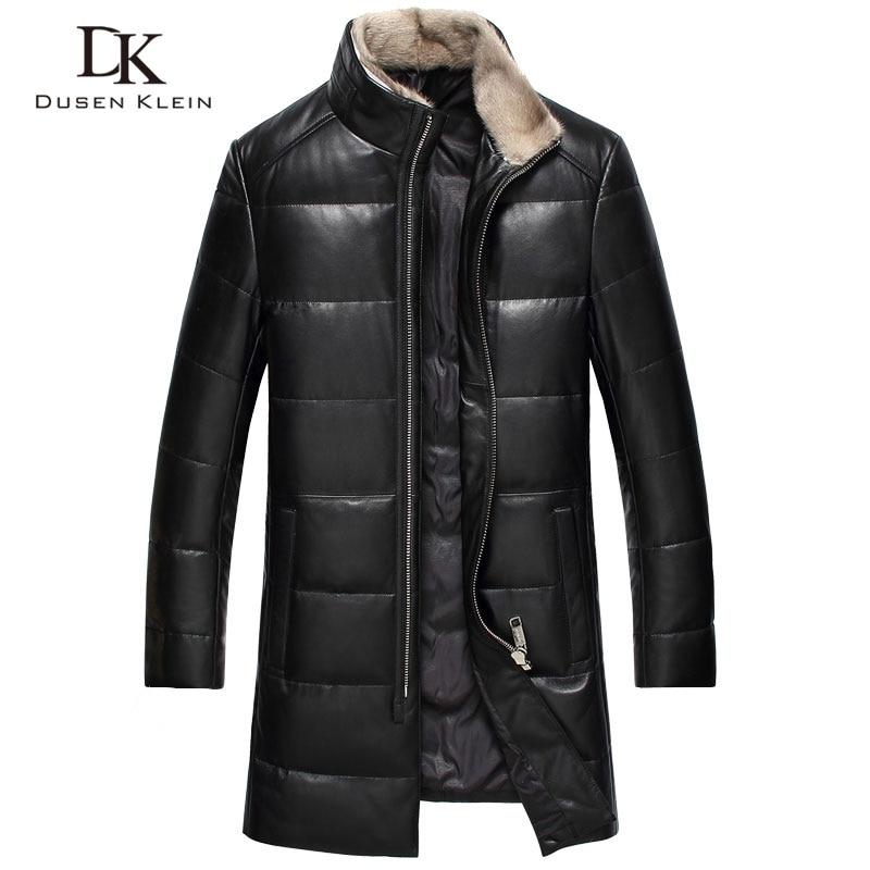 2017 새로운 브랜드 가죽 재킷 남자 Dusen 클라인 진정한 양 가죽 오리 밍크 모피 칼라 가죽 코트 61I7023