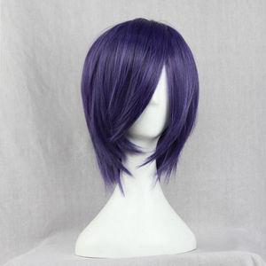 Image 2 - Парик Из Аниме Tokyo Ghoul Touka Kirishima, короткие фиолетовые волосы Kirishima Toka, вечерние парики для Хэллоуина + парик