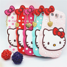 New 3D Cartoon Hello Kitty Case Soft Silicon Back Cover for Samsung Galaxy S3 I9300 Rubber Phone Shell