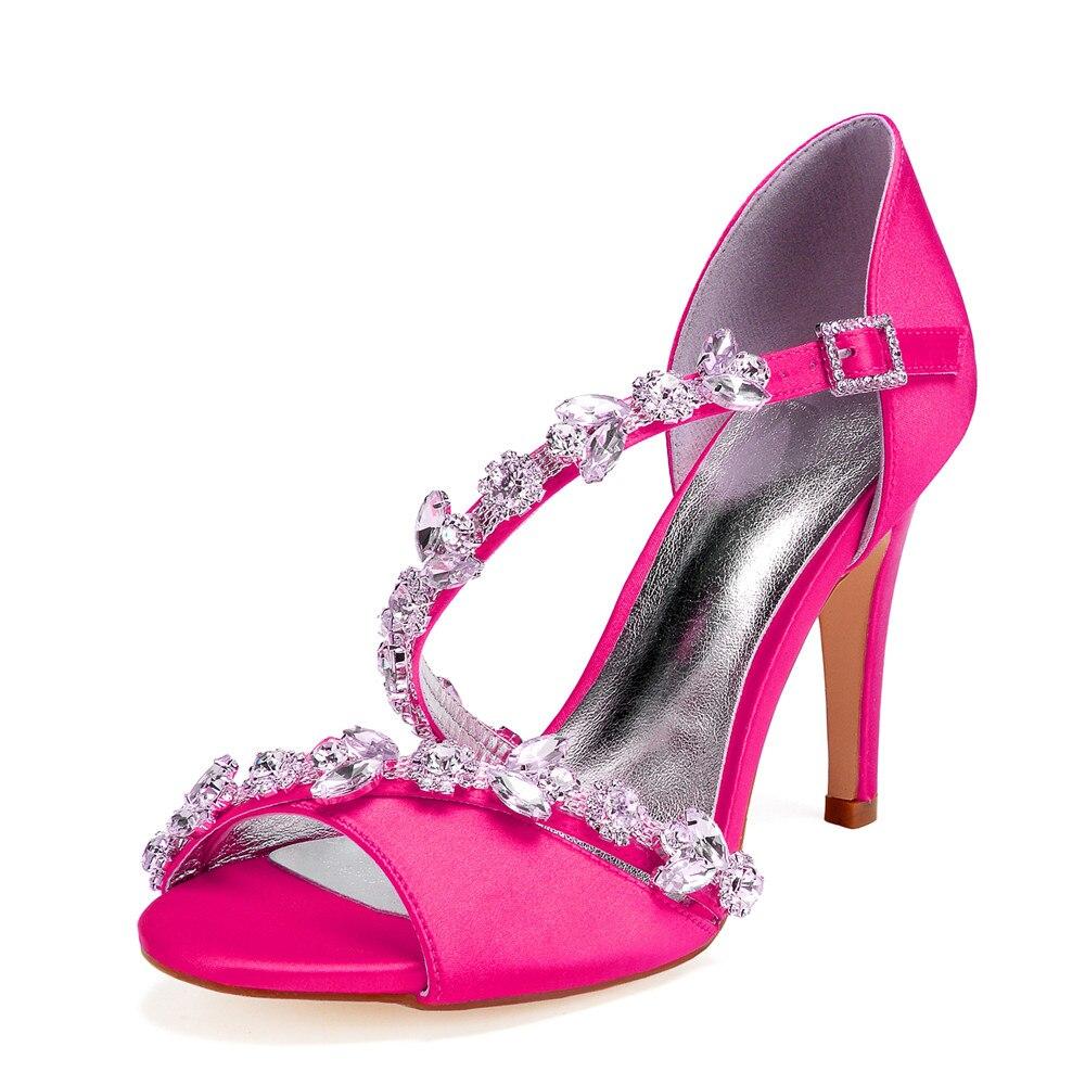 OnnPnnQ talons hauts strass mariage sandales chaussures bout ouvert Satin cheville boucle sangle bal soirée fête d'été dames chaussures
