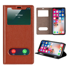 LUCKBUY For iPhone X XR XS Max Ultra Thin Flip Cover Case Dual Window View Genuine Leather Phone for 7 8 Plus 6 6S