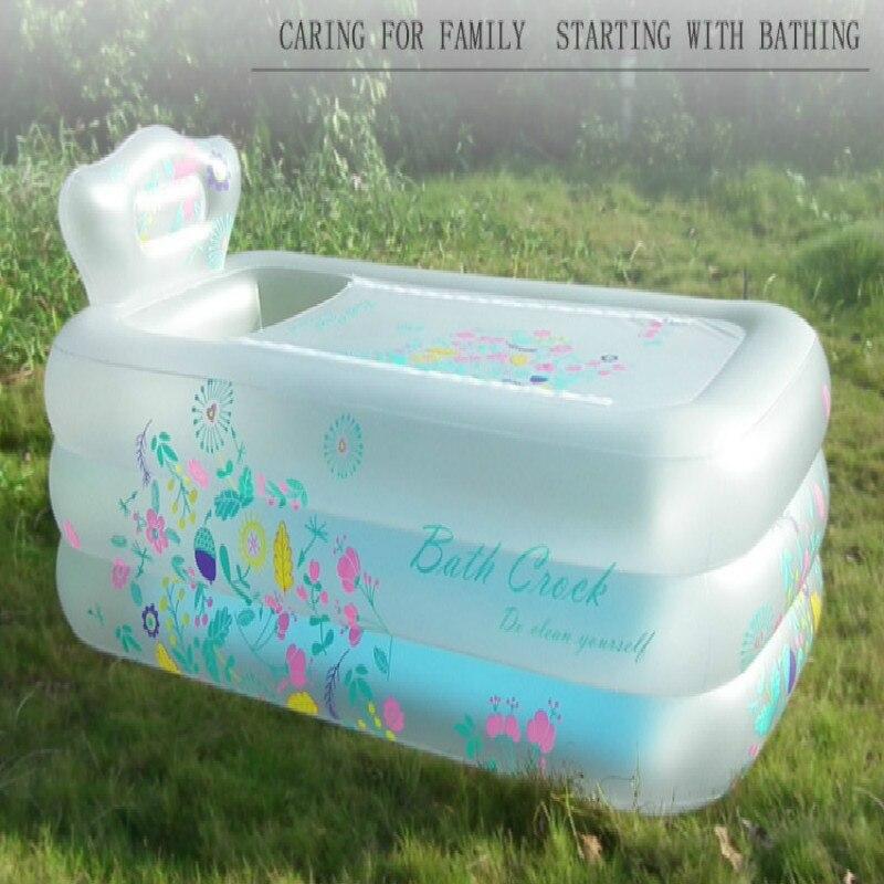 Baignoire gonflable Simple artefact ménage adulte baignoire pliante enfant isolation bain baril douche bassin garder chaud épaissir