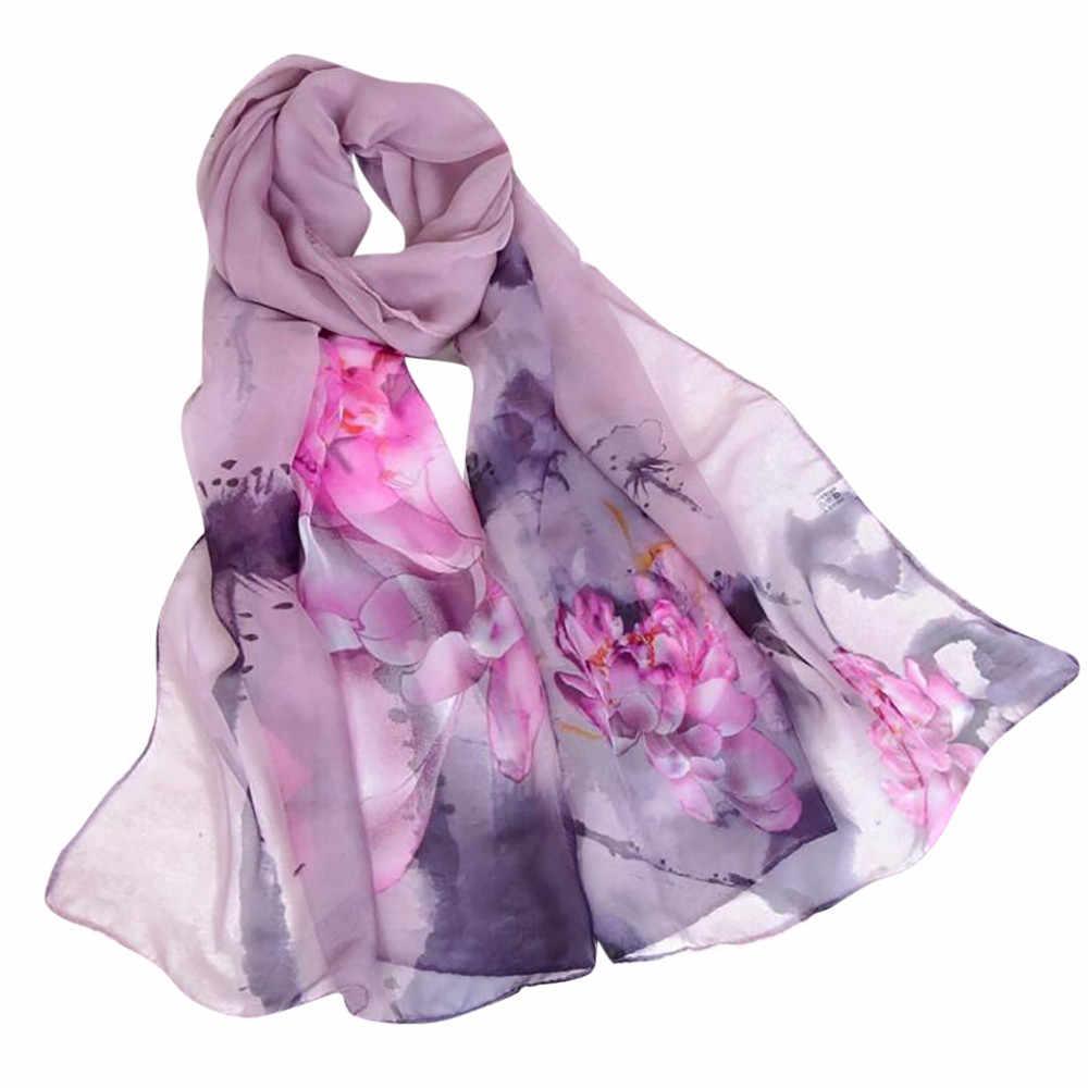 צעיפי נשים 2019 סתיו femme silksilk צעיף scarffloral לוטוס הדפסה ארוך רך גלישת צעיף גבירותיי צעיף veilMAR 15