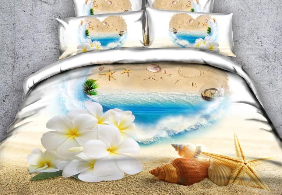 beach bedding set 3d floral bed sheet love comforter duvet cover cal king queen size full twin bed in a bag linen bedspread 5pcs