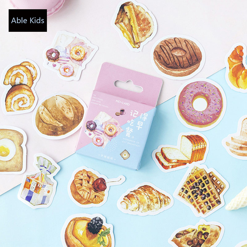 46pcs /Pack Breakfast Bread Mini DIY Decorative Stickers Scrapbooking Diary Album Decor Stick Label