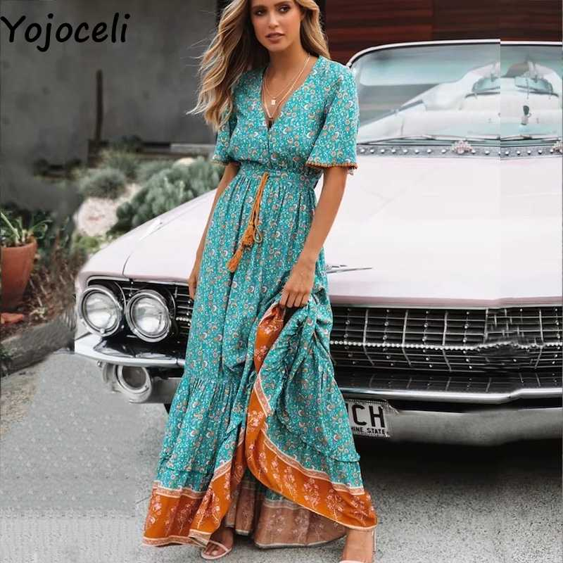 3df7592466c06 Yojoceli Tassel ruffle long boho beach dress women Summer elegant female  print maxi dress Casual daily sexy cute dress vestidos