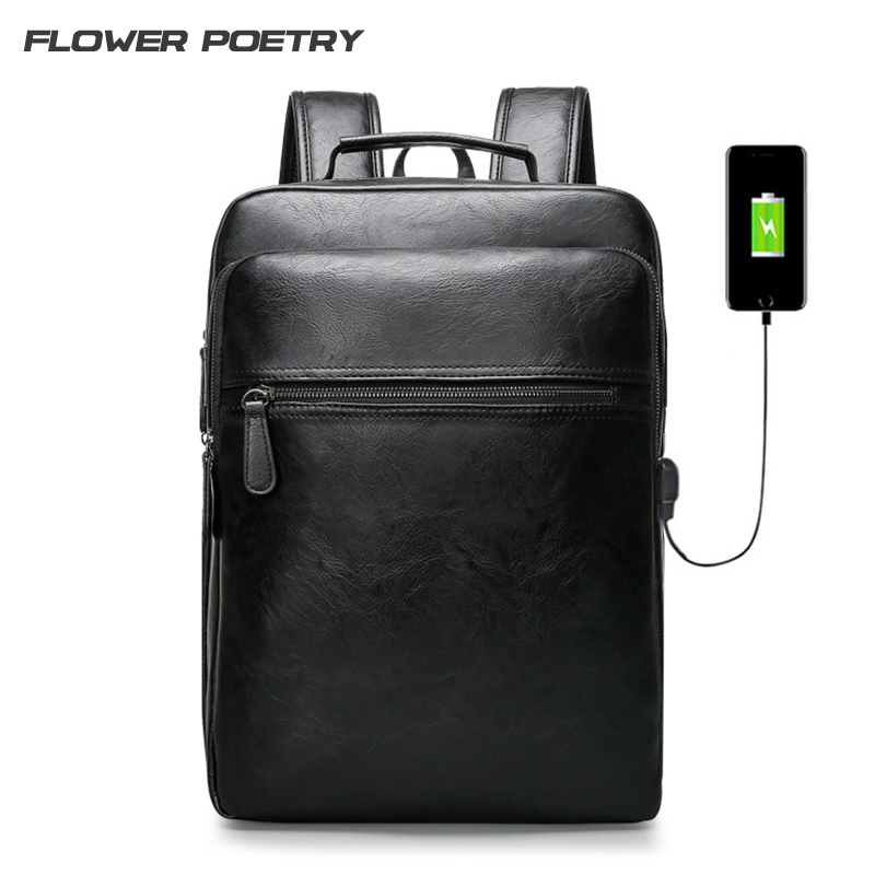 High Quality PU Leather Backpack Men Student Fashion School Bags Casual 15  Laptop Notebook Rucksack Women Leisure Mochila new men business laptop backpack waterproof nylon casual computer student school bags rucksack travel notebook knapsack case 15