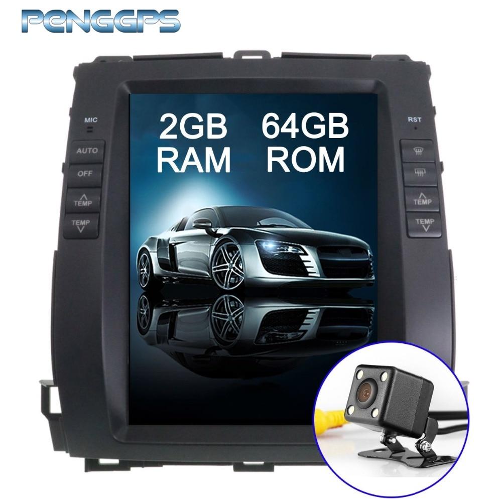 Tesla Estilo 2 Din 10.4 polegada Android 7.1 de Navegação GPS Do Carro DVD Player para Toyota Land Cruiser Prado 120 2002 -2009/Lexus GX470