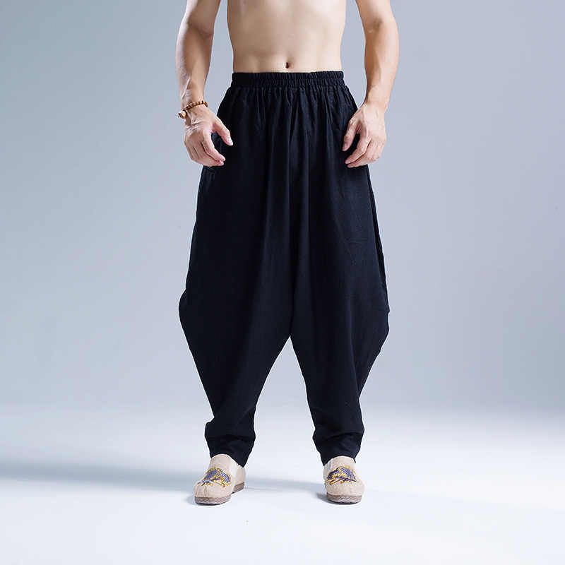 Mens Katoen Linnen Baggy Broek Kung Fu Martial Arts Sport Broek Drop Kruis Losse Harembroek Folk Tai Chi Trainer joggingbroek