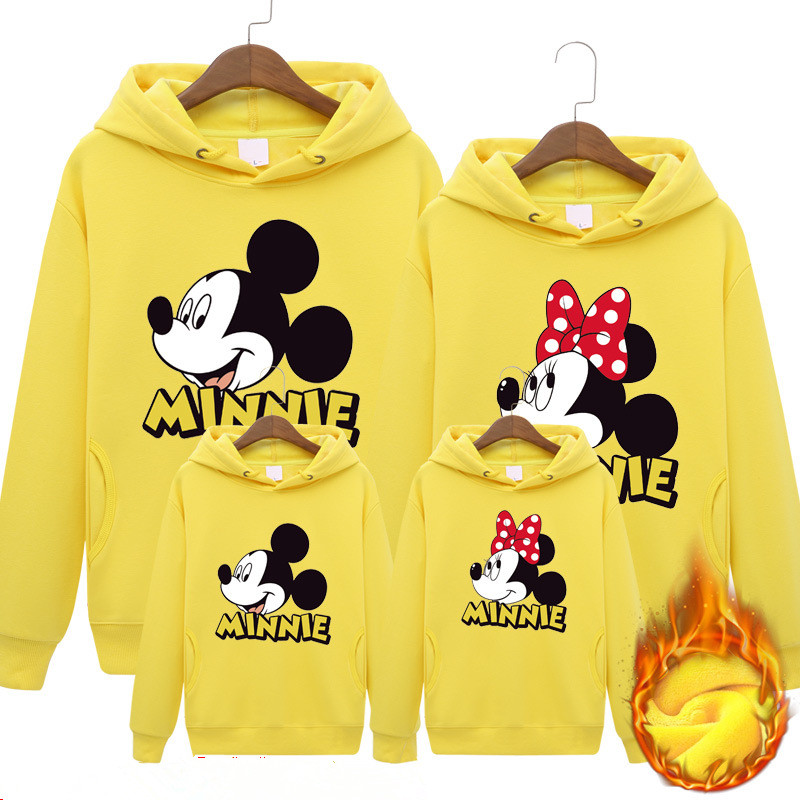 Family Matching Outfits Mickey Hoodies Father Mother Daughter Son Sweatshirts Family Outfits Fashion Dad Mom Kids Hoodies Coats